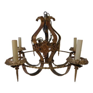 Vintage 1930s Spanish Revival Iron Painted Chandelier