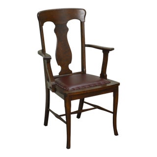 Antique Solid Oak T-Back Arm Chair
