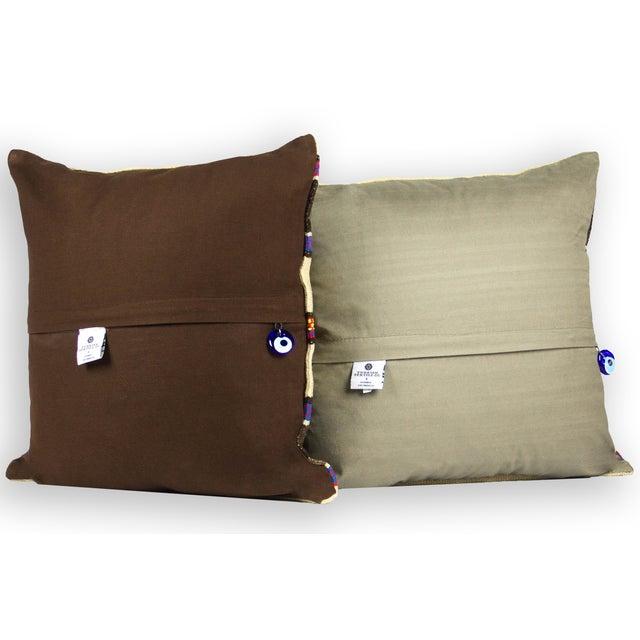 Matching Turkish Striped Kilim Pillows - A Pair - Image 3 of 3