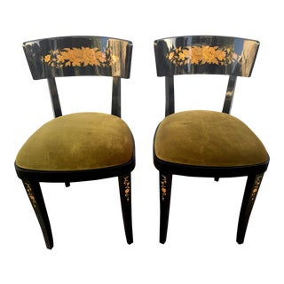 Vintage Italian Lacquer Chairs - a Pair