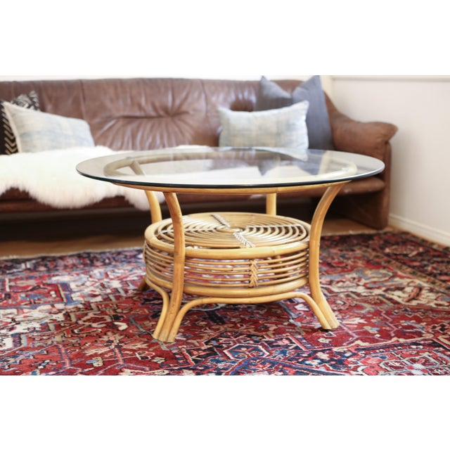 Bamboo Coffee Table Round: Round Rattan & Bamboo Pencil Reed Glass Top Coffee Table