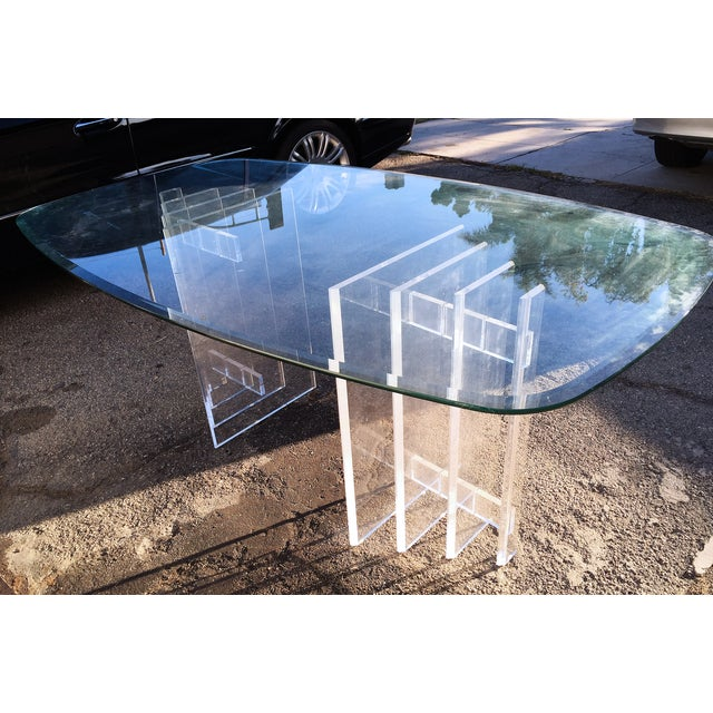 Image of Lucite Sculptural Base Dining Table