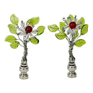 Glass Tree Lamp Finials - A Pair