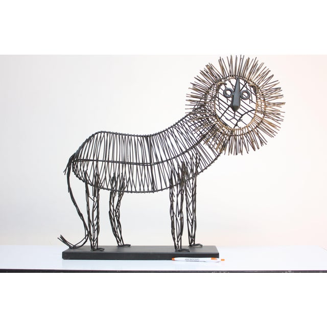 Brutalist Style Lion Wire Scupture - Image 3 of 11