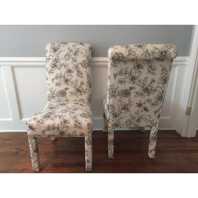 Floral Upholstered Roll Back Parsons Chairs A Pair