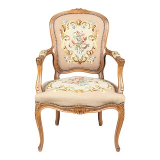 Louis XVI-Sty Needlepoint Fauteuil Chair