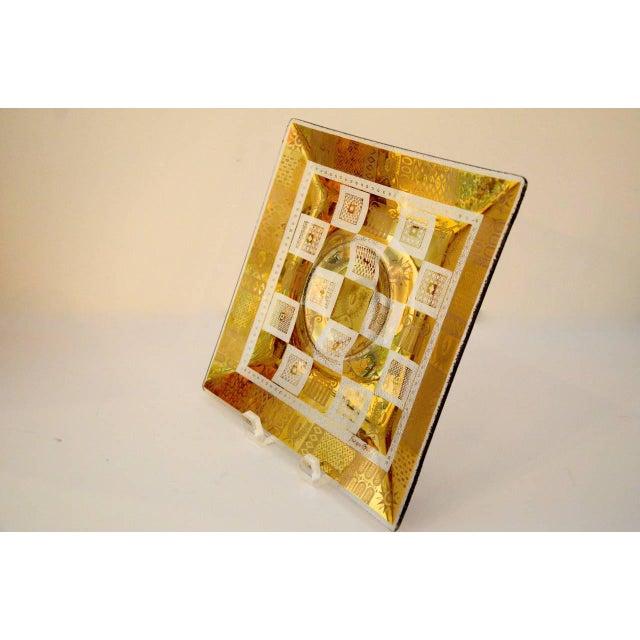 Image of Vintage Georges Briard Golden Celeste Pattern Fused Glass Serving Tray