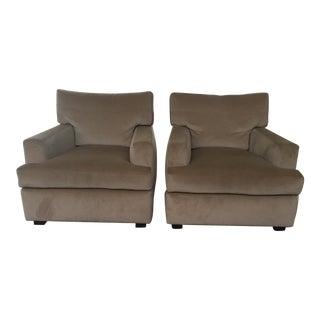 Mohair Taupe Club Chairs - A Pair