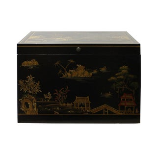 Chinese Golden Black Base Scenery Graphic Wood Trunk Box