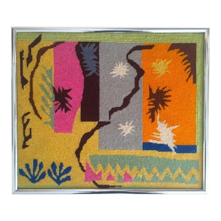 """Vintage Mid-Century Modern Matisse """"Cut Outs"""" Framed Needlepoint"""