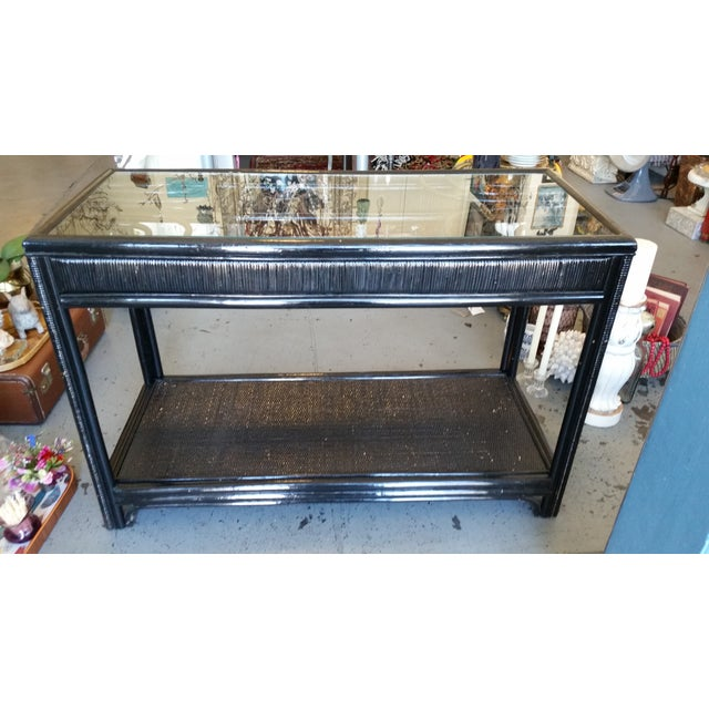 Vintage Glass Top Rattan Console Table - Image 6 of 10