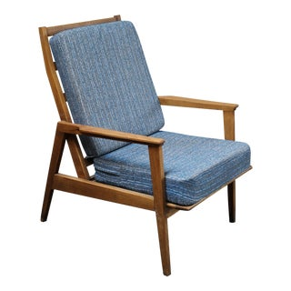 Mid-Century Wood Arm Chair With Blue Tweed Cushions