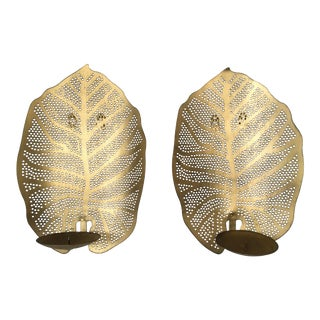 Gold Leaf Sconces - A Pair