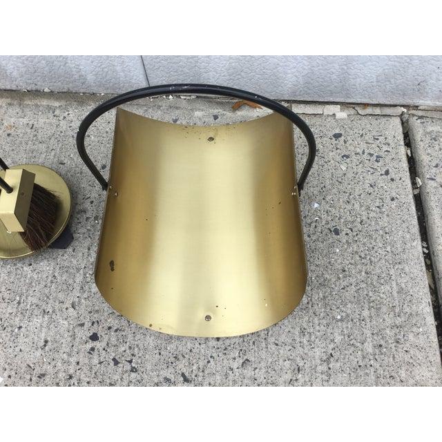 1960s Modernist Brass Fireplace Tools & Holder Set - Image 4 of 10