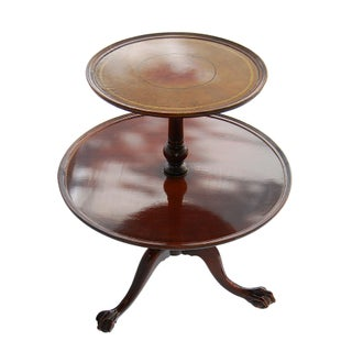 Vintage TwoTier Mahogany & Leather Claw Foot Table