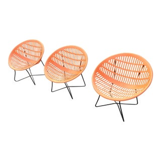 Solair Orange Pool Motel Lounge Chairs - Set of 3