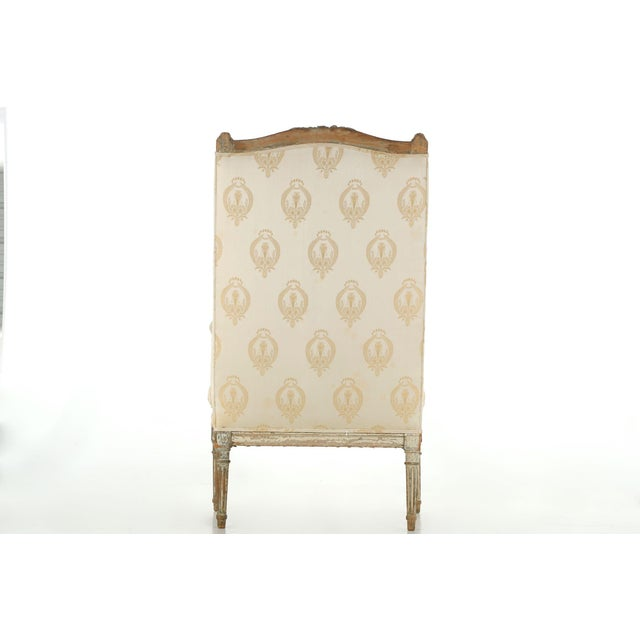 French Louis XVI Distressed Wingback Armchair - Image 3 of 11