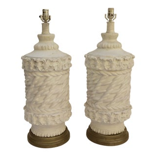 1970's Basket Weave Lamps - A Pair