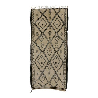 Mid-Century Modern Beni Ourain Moroccan Rug with Tribal Symbols