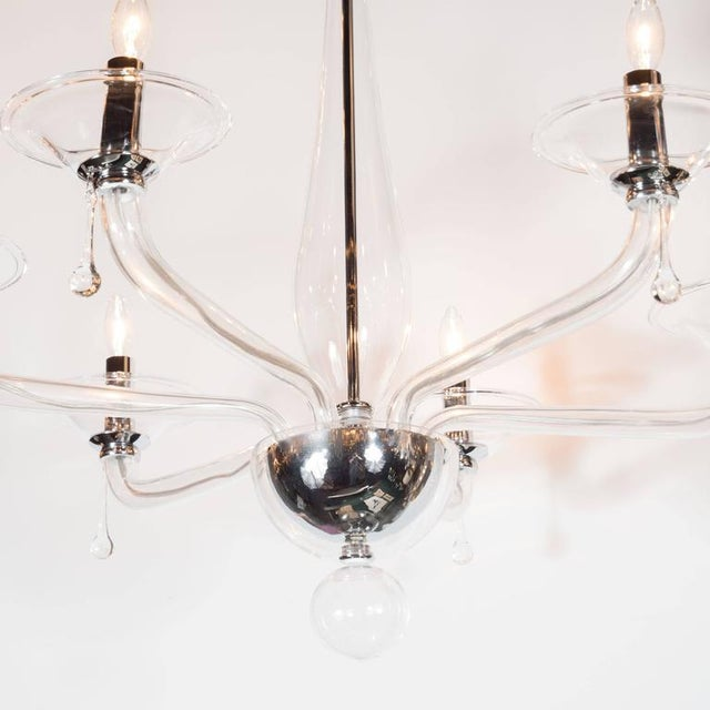 Mid-Century Handblown Six-Arm Murano Chandelier in Clear Glass - Image 2 of 11