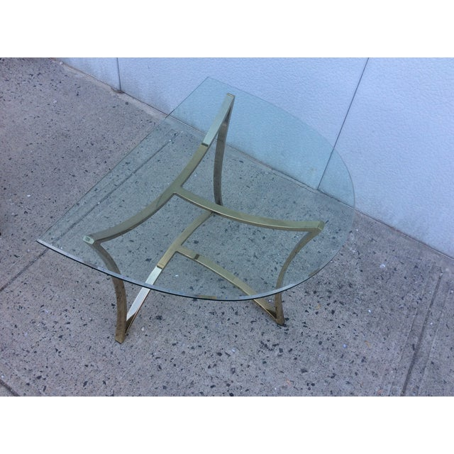 1970's Modern Demi Lune Brass Side Tables - Image 9 of 11