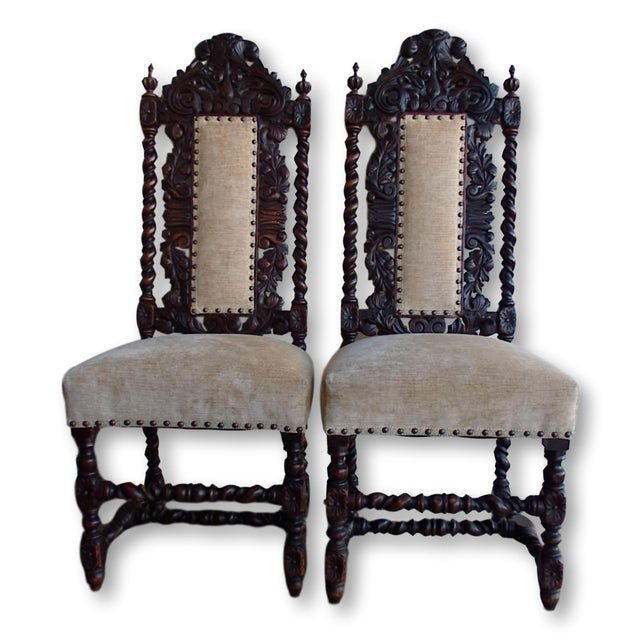Antique Anglo-Indian Rococo Style Carved Chairs - A Pair - Image 2 of 11