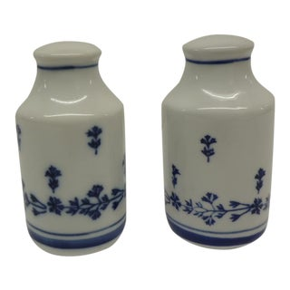 Vintage Chinese Blue & White Salt & Pepper Shakers - A Pair