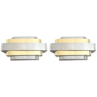 1970s Chrome & Brass Sconces - A Pair