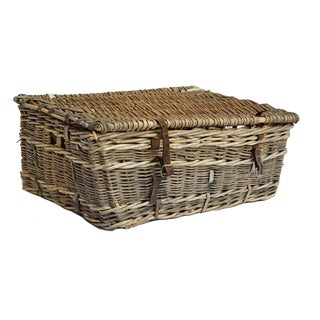 French Willow and Leather Trunk