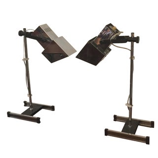 1960s Architectural Chrome Desk Lamps - A Pair