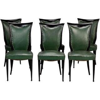Osvaldo Borsani Style Dark Wood Frame Chairs - Set of 6