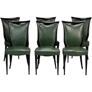 Osvaldo Borsani Style Dark Wood Frame Chairs - Set of 6