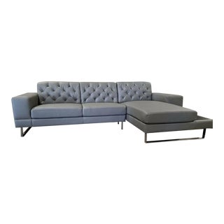 Gray Faux Leather L Shaped Sectional Couch