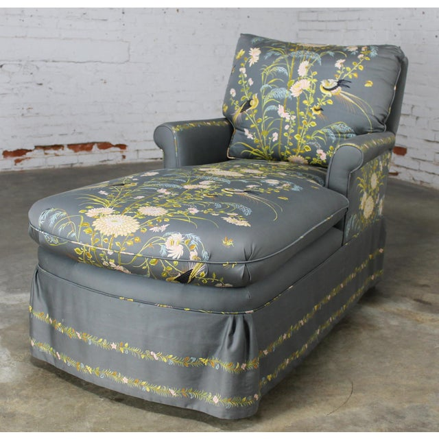 Image of Vintage 1940's Newly Upholstered Double Armed Chaise Lounge