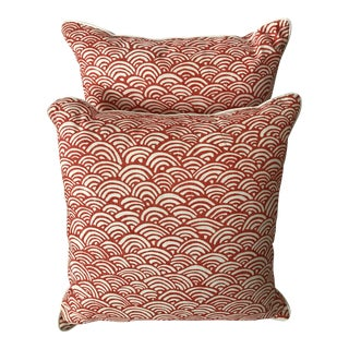 Coral & White Lulu DK Fabric Pillows - A Pair