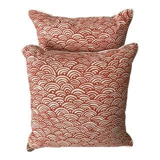 Coral & White Lulu DK Fabric Pillows - A Pair