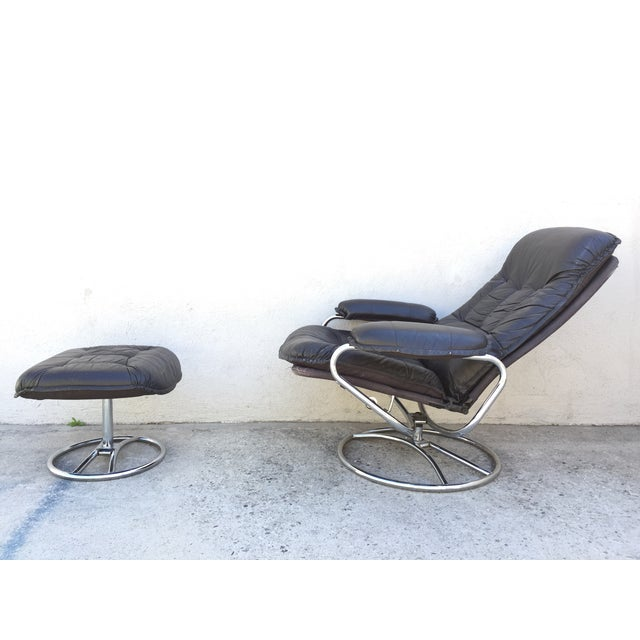 Mid-Century Italian Leather Chair and Ottoman - Image 4 of 11
