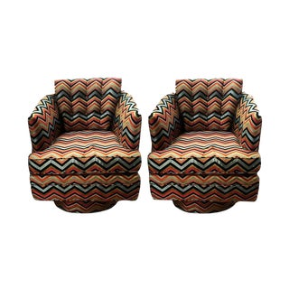 Mid-Century Style Upholstered Swivel Chairs - A Pair