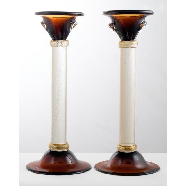 Murano Amber & Avventurina Glass Candlesticks- A Pair - Image 2 of 10