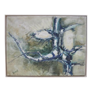 1960s Vintage Abstract Oil on Canvas Painting