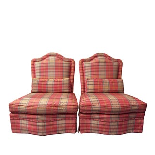Vintage Baker Skirted Slipper Chairs, A Pair