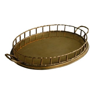 Faux Bamboo Oval Brass Serving Tray