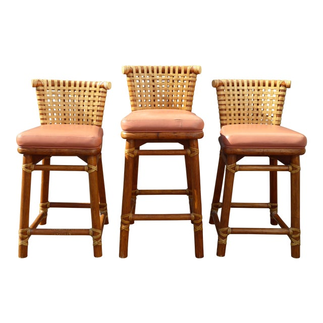 McGuire Bamboo Barstools with Laced Rawhide - Set of 3 - Image 1 of 11