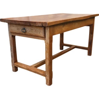 French Antique Cherrywood Butcher Block Table With Drawers