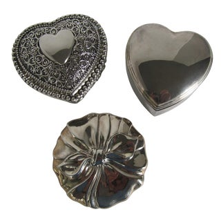 Silver-Plate Heart Boxes & Bow Mirror