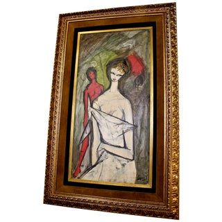 Two Women by Charles Levier, Original Oil Painting