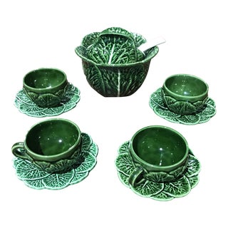 Portuguese Majolica Cabbage Bowl - Set of 10