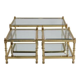 Three Italian Mid Century Glass and Brass Tables