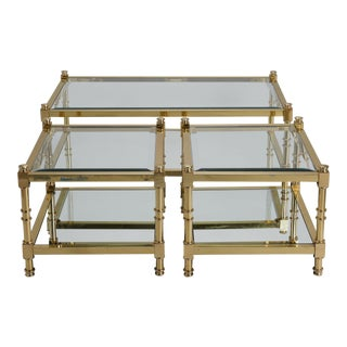 Three Italian Mid Century Glass and Brass Tables