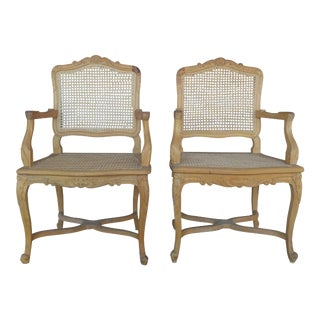 French Cane Arm Chairs - Set of 2